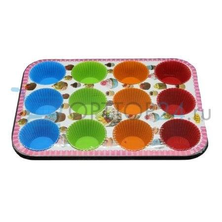 Формы для кексов на металлическом каркасе 12 ячеек оптом