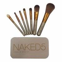 Набор кистей для макияжа Naked5 7 шт в металлическом футляре