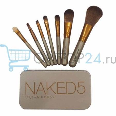 Набор кистей для макияжа Naked5 7 шт в металлическом футляре оптом